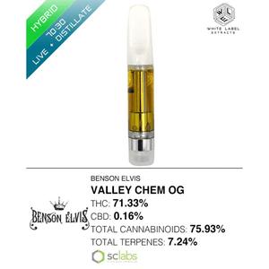 White Label Extracts   Valley Chem OG | 70:30 LR:DSTL Cartridge (1g)