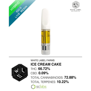 White Label Extracts   Ice Cream Cake | 100% Live Resin Cartridge (0.5g)
