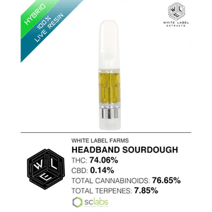 White Label Extracts   Headband Sourdough | 100% Live Resin Cartridge (0.5g)