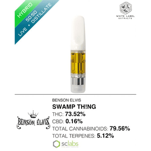 White Label Extracts   Swamp Th!ng | 50:50 LR:DSTL Cartridge (0.5g)