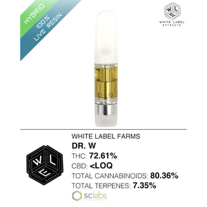 White Label Extracts   Dr. W | 100% Live Resin Cartridge (0.5g)